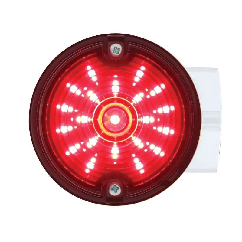 "21 LED 3 1/4"" Round Harley Signal Light w/ Housing - Red LED/Smoke Lens 