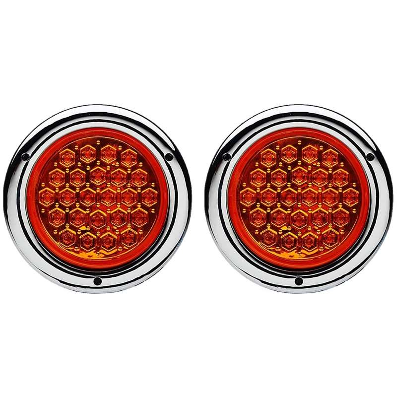 "(2) 4"" Round Work Truck Trailer Rv Brake Tail Park Turn Signal Lights Amber Led"