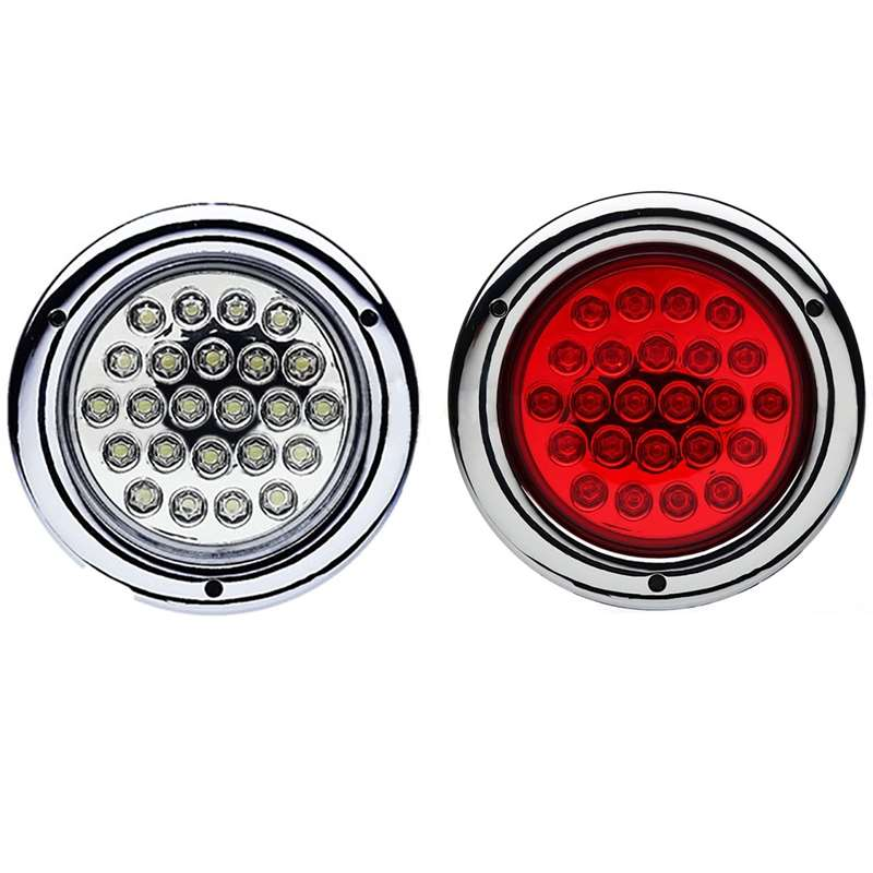 "4"" Round Brake Back Up Reverse Tail Light Turn Signal Red & White Led Light Pair"