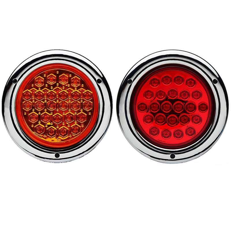 4 Round Truck Trailer Rv Brake Tail Light Turn Signal Red