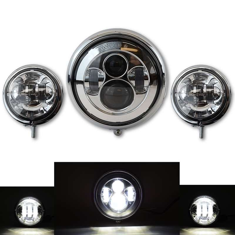 Moto LED Passing And LED Headlight Auxiliary W/ Chrome Housing Buckets Set