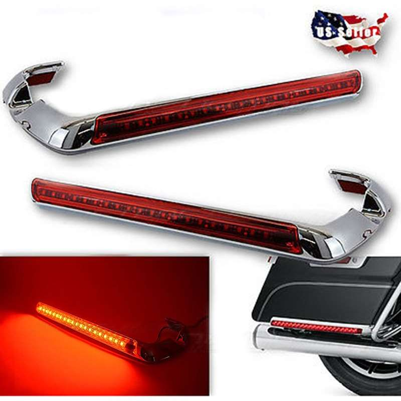 14-17 Harley Chrome LED Side Marker Saddle Bag Luggage Tour Pak Light Trim Pair