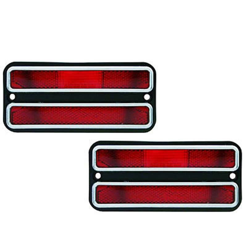 68-72 Chevy GMC Truck Rear Red Side Marker Light w/ Chrome Trim Pair