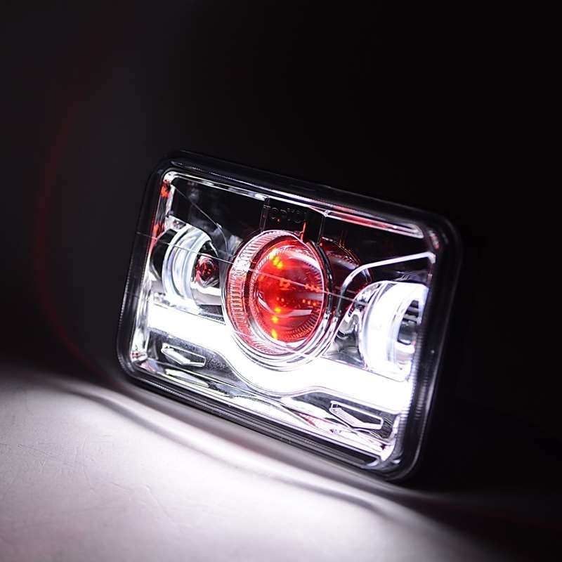 Kenworth Freightliner Peterbilt Western Star Semi Truck 4X6 Chrome LED Headlight