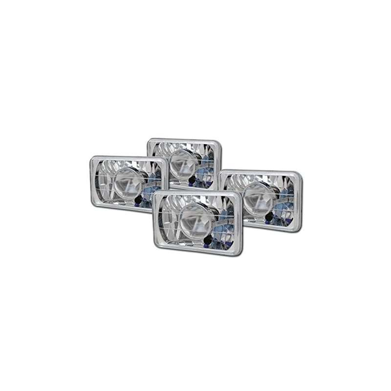 2 PAIRS UNIVERSAL 4 And X 6 And DIAMOND CHROME SEALED BEAM PROJECTOR HEAD LIGHTS H4 CA1