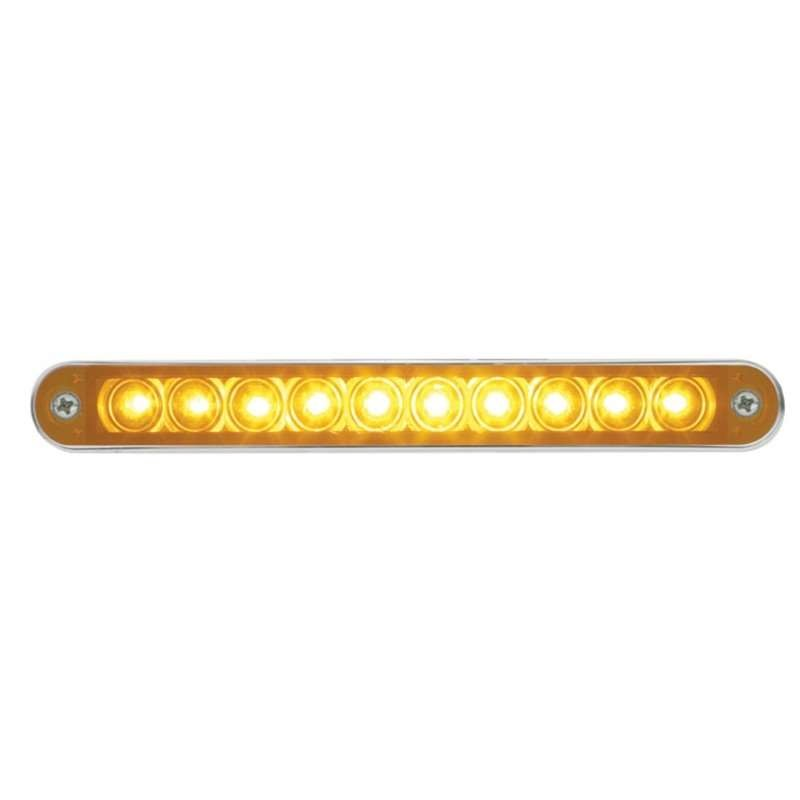 "10 LED 6 1/2"" Turn Signal Light Bar w/ Bezel - Amber LED/Amber Lens 