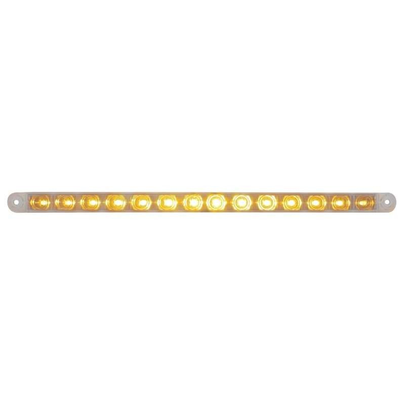 "14 LED 12"" Turn Signal Light Bar - Amber LED/Clear Lens 