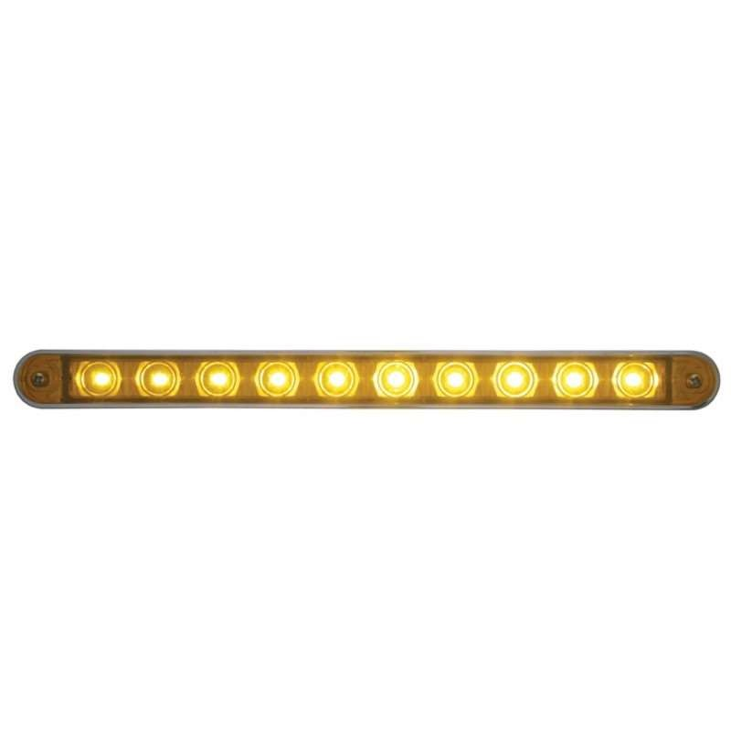"10 LED 9"" Turn Signal Light Bar w/ Bezel - Amber LED/Amber Lens 