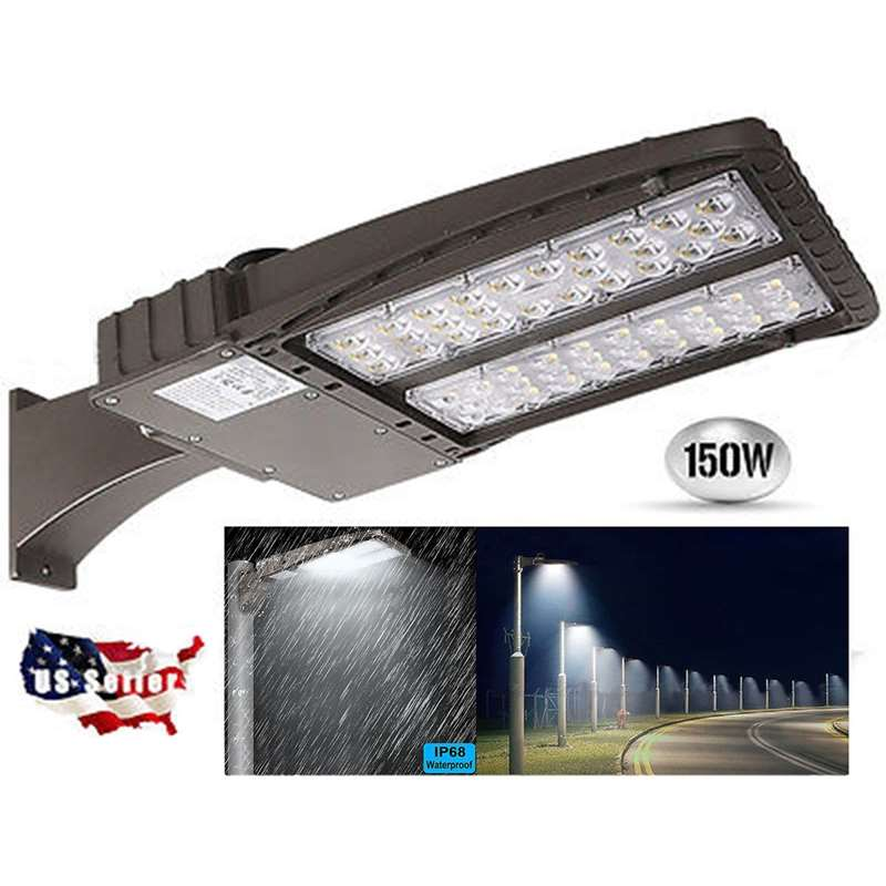 150W LED Shoebox Light Parking Lot Pole Commericial Building Street Lighting