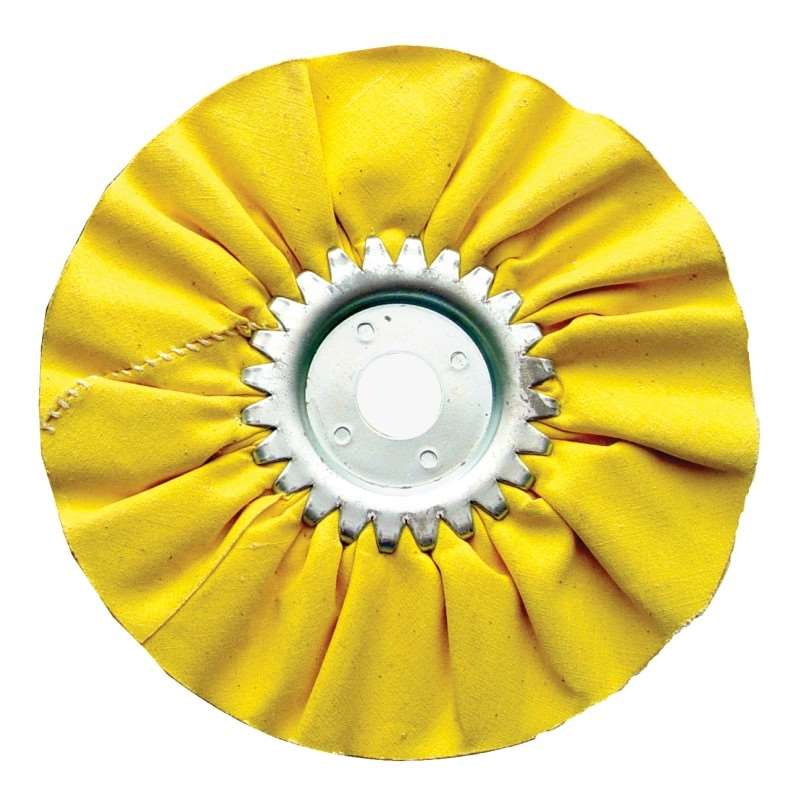 "6"" Yellow Treated Airway Buff - 5/8"" / 1/2"" Arbor 