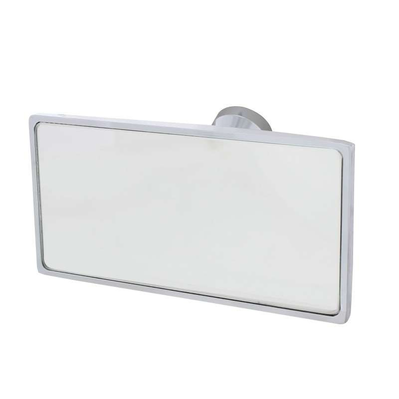 Chrome Interior Rear View Mirror with Glue-On Mount - Rectangular | Interior Mirrors / Accessories
