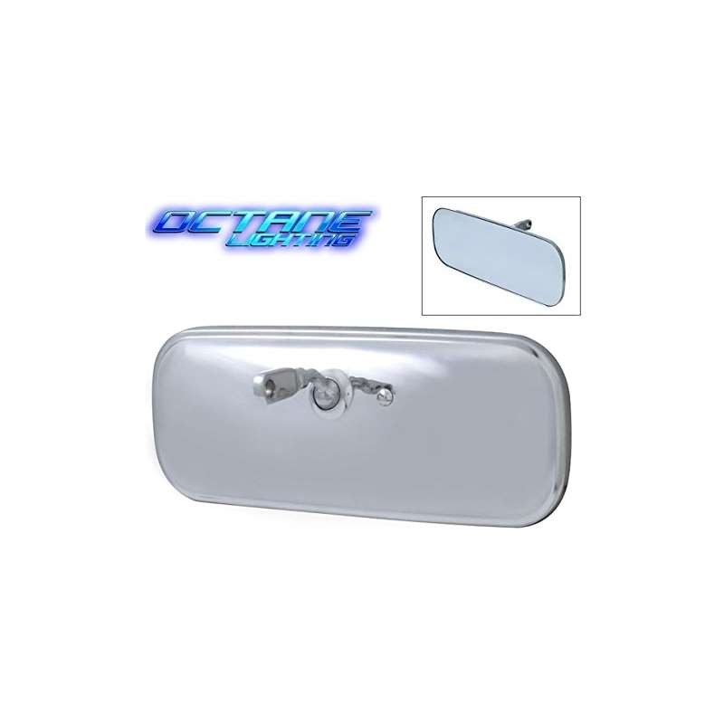Stainless Inside Interior Rear View Glass Mirror Chrome Bracket