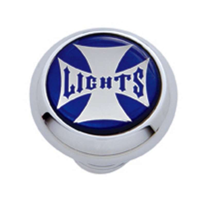 "Small Deluxe Dash Knob w/ ""Lights"" Blue Maltese Cross Sticker 