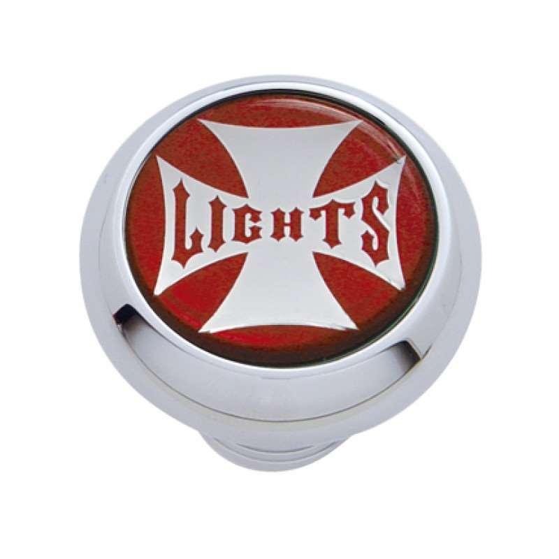 "Small Deluxe Dash Knob w/ ""Lights"" Red Maltese Cross Sticker 