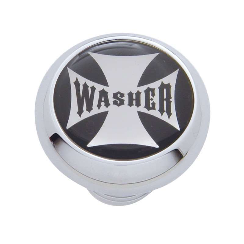 "Small Deluxe Dash Knob w/ ""Washer"" Black Maltese Cross Sticker 