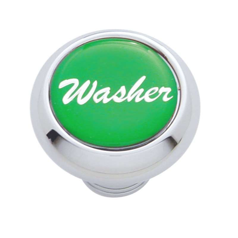 "Small Deluxe Dash Knob w/ ""Washer"" Green Glossy Sticker 