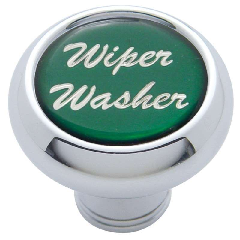"Small Deluxe Dash Knob w/ ""Wiper/Washer"" Green Glossy Sticker 