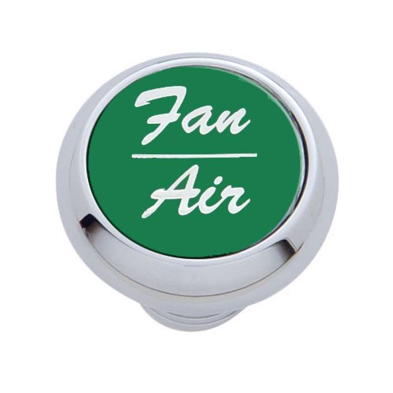 "Small Deluxe Dash Knob w/ ""Fan/Air"" Green Aluminum Sticker 