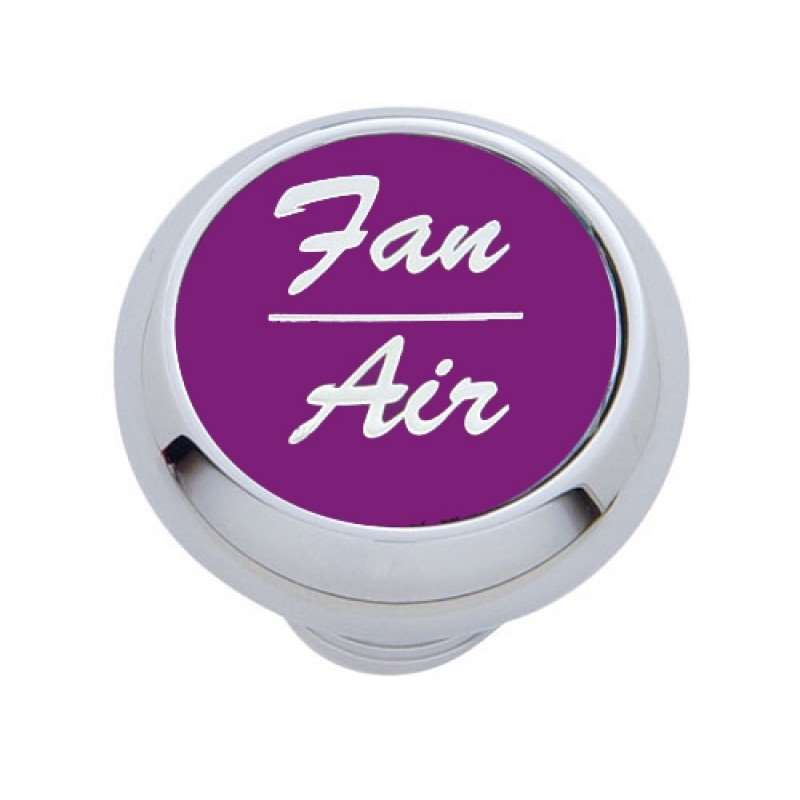 "Small Deluxe Dash Knob w/ ""Fan/Air"" Purple Aluminum Sticker 
