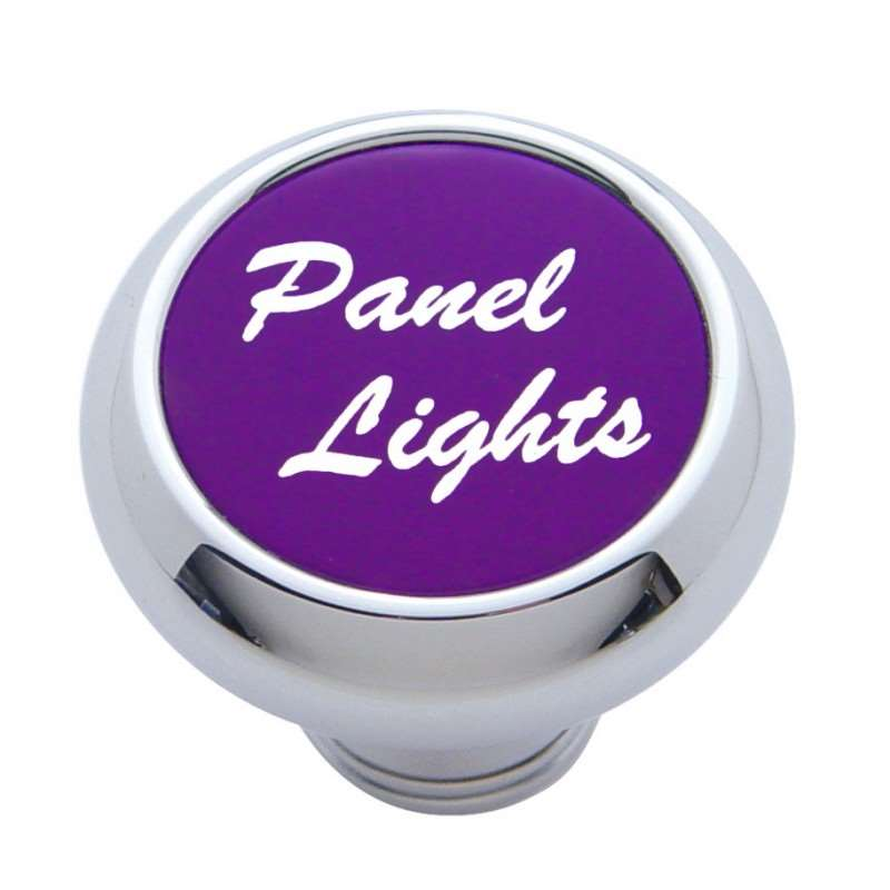 "Small Deluxe Dash Knob w/ ""Panel Lights"" Purple Aluminum Sticker 