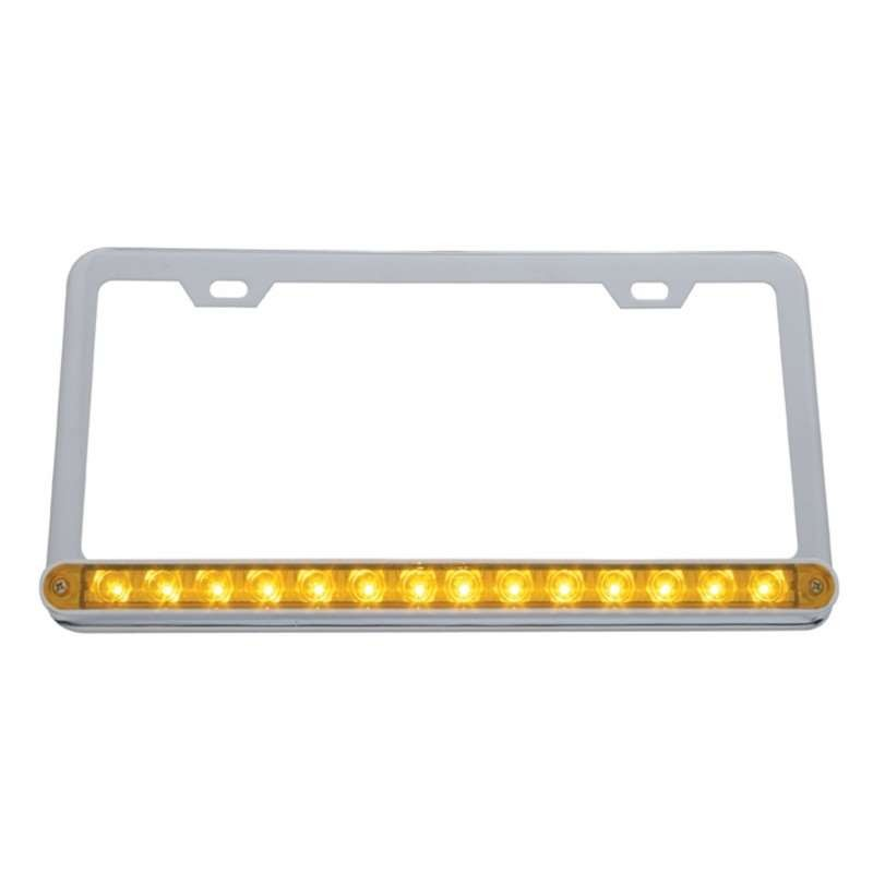 14 LED Light Bar License Frame- Amber LED/Amber Lens | License Plate Frames