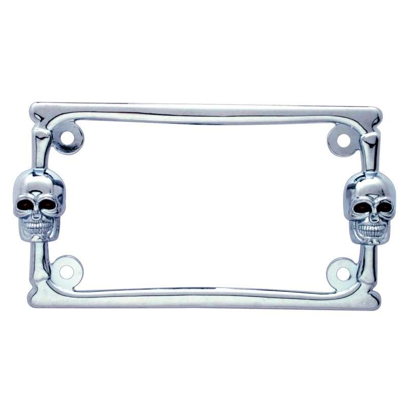 Chrome Designer Motorcycle License Frame - Skull | License Plate Frames