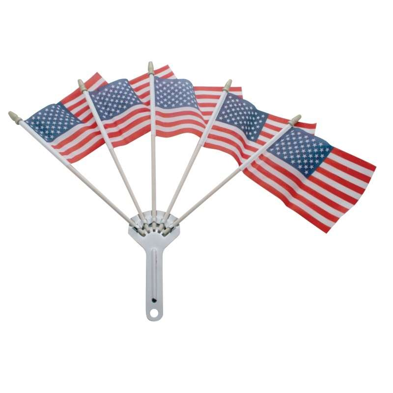 Chrome Flag Holder with Flags w/ 5 Flags | Novelties / Accessories
