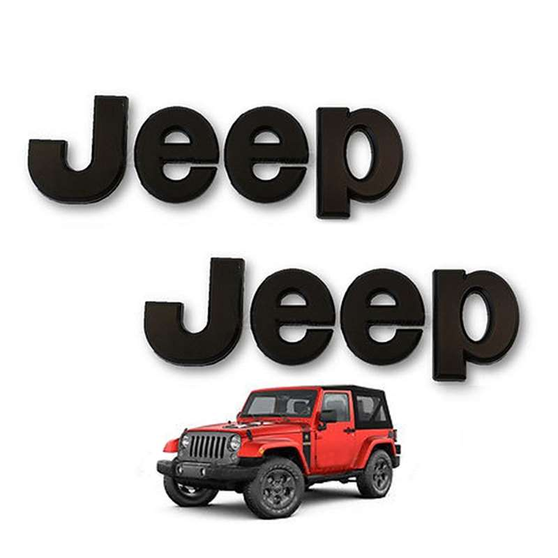 Jeep Stick On Letters Emblem Badge Logo Grille Hood Fender Tailgate SUV Pair
