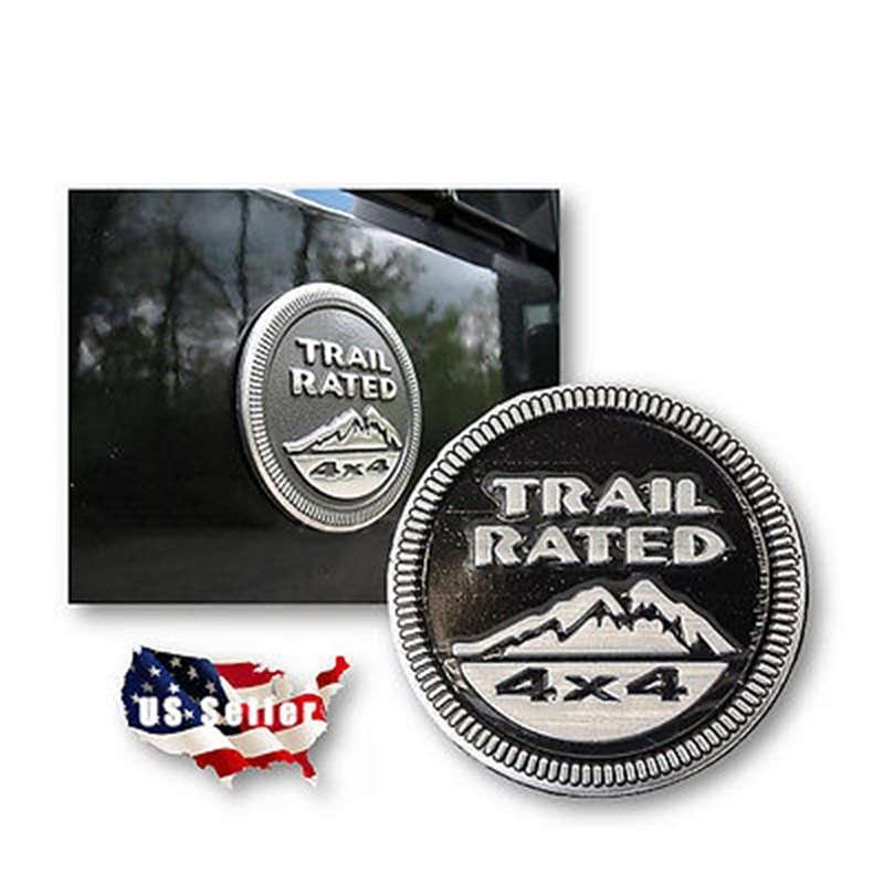 Trail Rated 4x4 Round Stick On Emblem Badge Medal Jeep Logo Land Rover Off Road