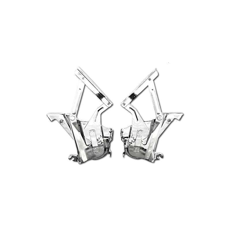 Unfair Advantage 57 1957 Chevy Polished Stainless Steel Hood Hinges Pair
