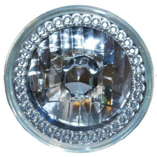 4X6 Amber LED COB Halo Crystal Glass//Metal Headlight H4 6K HID Light Bulb Set