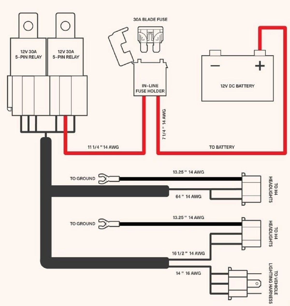 Dual Headlight Relay Wiring Diagram from www.octanelighting.com