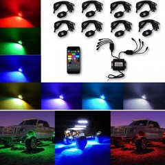 Jeep Truck Multi-Color Changing  LED RGB SMD Rock Light Bluetooth Set Of 8