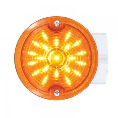 "21 LED 3 1/4"" Round Harley Signal Light w/ Housing - Amber LED/Amber Lens 