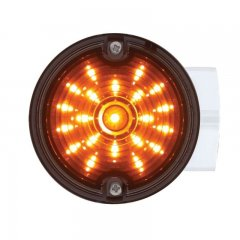 "21 LED 3 1/4"" Round Harley Signal Light w/ Housing - Amber LED/Smoke Lens 