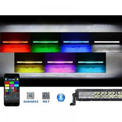 "32"" 5D LED RGB Light Bar Multi-Color Changing Offroad Flash Bluetooth Jeep"