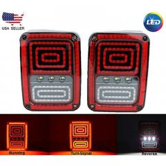 07-17 Jeep Wrangler LED Tail Turn Signal Brake Reverse Light Lens Assembly Pair