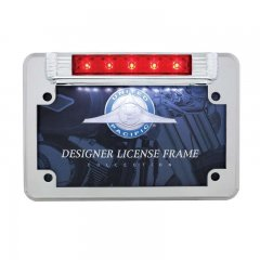 5 Red LED Motorcycle License Plate Frame - 3rd Brake Light | Motorcycle Products