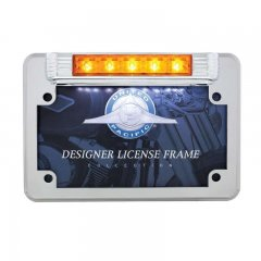 5 Amber LED Motorcycle License Plate Frame - Auxiliary Light | Motorcycle Products