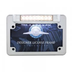 8 White LED Motorcycle License Plate Frame - Back-Up Light | Motorcycle Products