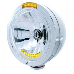 """BULLET"" Classic Headlight - 10 LED Crystal H4 Bulb w/ Dual Function Amber LED/Amber Lens 