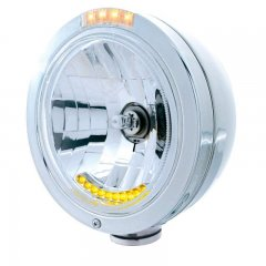 """BULLET"" Classic Headlight - 10 LED Crystal H4 Bulb w/ Amber LED/Clear Lens 