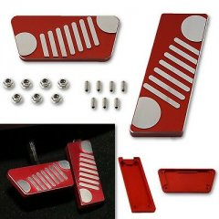 Red Gas Brake Accelerator Billet Aluminum Pedal Cover For 07-17 Jeep Wrangler
