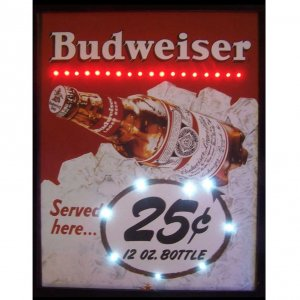 BUDWEISER SERVED HERE 25 CENT LED POSTER